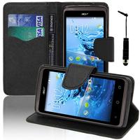 Acer Liquid Z410: Accessoire Etui portefeuille Livre Housse Coque Pochette support vidéo cuir PU effet tissu + mini Stylet - NOIR