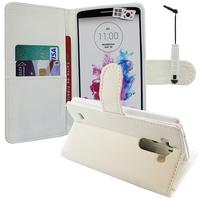 LG G3 D850/ D851/ D855/ VS985/ LS990/ D852: Accessoire Etui portefeuille Livre Housse Coque Pochette support vidéo cuir PU + mini Stylet - BLANC