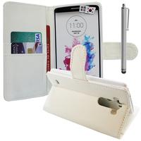 LG G3 D850/ D851/ D855/ VS985/ LS990/ D852: Accessoire Etui portefeuille Livre Housse Coque Pochette support vidéo cuir PU + Stylet - BLANC