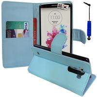 LG G3 D850/ D851/ D855/ VS985/ LS990/ D852: Accessoire Etui portefeuille Livre Housse Coque Pochette support vidéo cuir PU + mini Stylet - BLEU