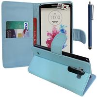 LG G3 D850/ D851/ D855/ VS985/ LS990/ D852: Accessoire Etui portefeuille Livre Housse Coque Pochette support vidéo cuir PU + Stylet - BLEU