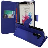 LG G3 D850/ D851/ D855/ VS985/ LS990/ D852: Accessoire Etui portefeuille Livre Housse Coque Pochette support vidéo cuir PU - BLEU FONCE