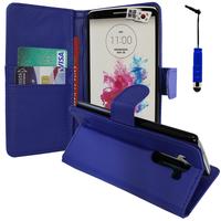 LG G3 D850/ D851/ D855/ VS985/ LS990/ D852: Accessoire Etui portefeuille Livre Housse Coque Pochette support vidéo cuir PU + mini Stylet - BLEU FONCE