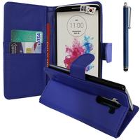 LG G3 D850/ D851/ D855/ VS985/ LS990/ D852: Accessoire Etui portefeuille Livre Housse Coque Pochette support vidéo cuir PU + Stylet - BLEU FONCE