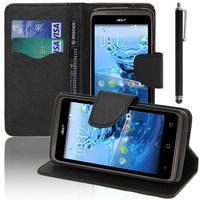 Acer Liquid Z410: Accessoire Etui portefeuille Livre Housse Coque Pochette support vidéo cuir PU effet tissu + Stylet - NOIR