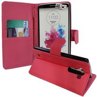 LG G3 D850/ D851/ D855/ VS985/ LS990/ D852: Accessoire Etui portefeuille Livre Housse Coque Pochette support vidéo cuir PU - ROSE