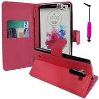 LG G3 D850/ D851/ D855/ VS985/ LS990/ D852: Accessoire Etui portefeuille Livre Housse Coque Pochette support vidéo cuir PU + mini Stylet - ROSE