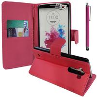 LG G3 D850/ D851/ D855/ VS985/ LS990/ D852: Accessoire Etui portefeuille Livre Housse Coque Pochette support vidéo cuir PU + Stylet - ROSE