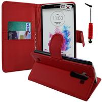 LG G3 D850/ D851/ D855/ VS985/ LS990/ D852: Accessoire Etui portefeuille Livre Housse Coque Pochette support vidéo cuir PU + mini Stylet - ROUGE