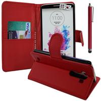 LG G3 D850/ D851/ D855/ VS985/ LS990/ D852: Accessoire Etui portefeuille Livre Housse Coque Pochette support vidéo cuir PU + Stylet - ROUGE
