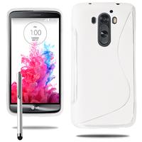LG G3 D850/ D851/ D855/ VS985/ LS990/ D852: Accessoire Housse Etui Pochette Coque S silicone gel + Stylet - BLANC