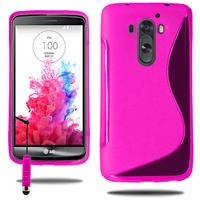 LG G3 D850/ D851/ D855/ VS985/ LS990/ D852: Accessoire Housse Etui Pochette Coque S silicone gel + mini Stylet - ROSE