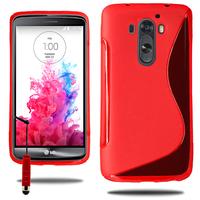 LG G3 D850/ D851/ D855/ VS985/ LS990/ D852: Accessoire Housse Etui Pochette Coque S silicone gel + mini Stylet - ROUGE