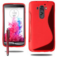 LG G3 D850/ D851/ D855/ VS985/ LS990/ D852: Accessoire Housse Etui Pochette Coque S silicone gel + Stylet - ROUGE