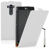 LG G3 D850/ D851/ D855/ VS985/ LS990/ D852: Accessoire Housse coque etui cuir fine slim + mini Stylet - BLANC