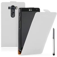 LG G3 D850/ D851/ D855/ VS985/ LS990/ D852: Accessoire Housse coque etui cuir fine slim + Stylet - BLANC