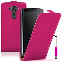 LG G3 D850/ D851/ D855/ VS985/ LS990/ D852: Accessoire Housse coque etui cuir fine slim + mini Stylet - ROSE