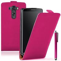 LG G3 D850/ D851/ D855/ VS985/ LS990/ D852: Accessoire Housse coque etui cuir fine slim + Stylet - ROSE