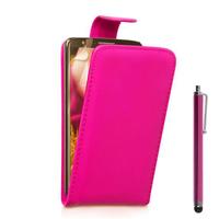 LG G2 D802/ D803/ VS980: Accessoire Etui Housse Coque Pochette simili cuir + Stylet - ROSE