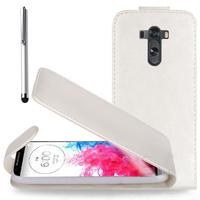 LG G3 D850/ D851/ D855/ VS985/ LS990/ D852: Accessoire Etui Housse Coque Pochette simili cuir + Stylet - BLANC