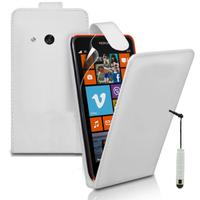 Nokia Lumia 625: Accessoire Etui Housse Coque Pochette simili cuir + mini Stylet - BLANC