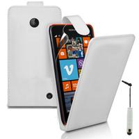 Nokia Lumia 630/ 635/ 638: Accessoire Etui Housse Coque Pochette simili cuir + mini Stylet - BLANC