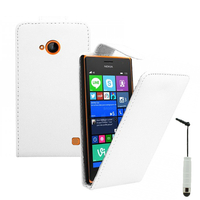 Nokia Lumia 735/ 730 Dual Sim: Accessoire Etui Housse Coque Pochette simili cuir + mini Stylet - BLANC