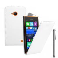 Nokia Lumia 735/ 730 Dual Sim: Accessoire Etui Housse Coque Pochette simili cuir + Stylet - BLANC