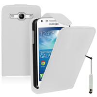 Samsung Galaxy Core Plus G3500/ Trend 3 G3502: Accessoire Etui Housse Coque Pochette simili cuir + mini Stylet - BLANC