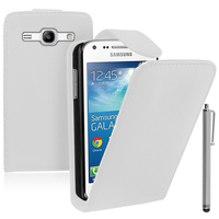 Samsung Galaxy Core Plus G3500/ Trend 3 G3502: Accessoire Etui Housse Coque Pochette simili cuir + Stylet - BLANC
