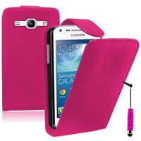 Samsung Galaxy Core Plus G3500/ Trend 3 G3502: Accessoire Etui Housse Coque Pochette simili cuir + mini Stylet - ROSE