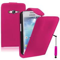 Samsung Galaxy Ace 4 Style LTE SM-G357FZ: Accessoire Etui Housse Coque Pochette simili cuir + mini Stylet - ROSE