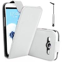 Samsung Galaxy Grand 2 SM-G7100 SM-G7102 SM-G7105 SM-G7106: Accessoire Etui Housse Coque Pochette simili cuir + mini Stylet - BLANC