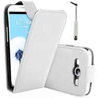 Samsung Galaxy S3 i9300/ i9305 Neo/ LTE 4G: Accessoire Etui Housse Coque Pochette simili cuir + mini Stylet - BLANC