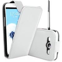 Samsung Galaxy S3 i9300/ i9305 Neo/ LTE 4G: Accessoire Etui Housse Coque Pochette simili cuir + Stylet - BLANC