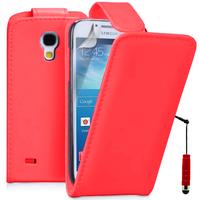 Samsung Galaxy S4 mini i9190/ S4 mini plus I9195I/ i9192/ i9195/ i9197: Accessoire Etui Housse Coque Pochette simili cuir + mini Stylet - ROUGE