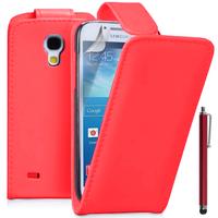 Samsung Galaxy S4 mini i9190/ S4 mini plus I9195I/ i9192/ i9195/ i9197: Accessoire Etui Housse Coque Pochette simili cuir + Stylet - ROUGE