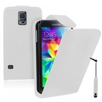 Samsung Galaxy S5 V G900F G900IKSMATW LTE G901F/ Duos / S5 Plus/ S5 Neo SM-G903F/ S5 LTE-A G906S: Accessoire Etui Housse Coque Pochette simili cuir + mini Stylet - BLANC