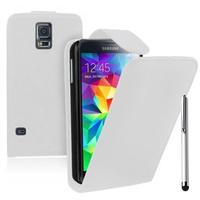 Samsung Galaxy S5 V G900F G900IKSMATW LTE G901F/ Duos / S5 Plus/ S5 Neo SM-G903F/ S5 LTE-A G906S: Accessoire Etui Housse Coque Pochette simili cuir + Stylet - BLANC