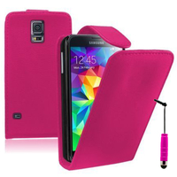Samsung Galaxy S5 V G900F G900IKSMATW LTE G901F/ Duos / S5 Plus/ S5 Neo SM-G903F/ S5 LTE-A G906S: Accessoire Etui Housse Coque Pochette simili cuir + mini Stylet - ROSE