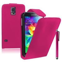 Samsung Galaxy S5 V G900F G900IKSMATW LTE G901F/ Duos / S5 Plus/ S5 Neo SM-G903F/ S5 LTE-A G906S: Accessoire Etui Housse Coque Pochette simili cuir + Stylet - ROSE