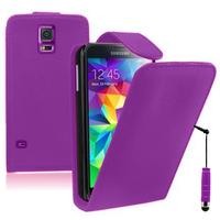 Samsung Galaxy S5 V G900F G900IKSMATW LTE G901F/ Duos / S5 Plus/ S5 Neo SM-G903F/ S5 LTE-A G906S: Accessoire Etui Housse Coque Pochette simili cuir + mini Stylet - VIOLET