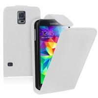 Samsung Galaxy S5 Mini G800F G800H / Duos: Accessoire Etui Housse Coque Pochette simili cuir - BLANC
