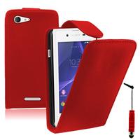 Sony Xperia E3/ E3 Dual D2212 D2203 D2243 D2206 D2202: Accessoire Etui Housse Coque Pochette simili cuir + mini Stylet - ROUGE