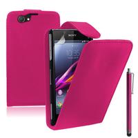 Sony Xperia Z1 Compact D5503: Accessoire Etui Housse Coque Pochette simili cuir + Stylet - ROSE