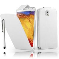 Samsung Galaxy Note 3 N9000/ N9002/ N9005/ N9006: Accessoire Etui Housse Coque Pochette simili cuir + Stylet - BLANC