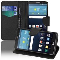 LG G Vista 2: Accessoire Etui portefeuille Livre Housse Coque Pochette support vidéo cuir PU effet tissu - NOIR