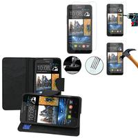 HTC Desire 516 dual sim: Etui Coque Housse Pochette Accessoires portefeuille support video cuir PU effet tissu + 1 Film de protection d'écran Verre Trempé - NOIR
