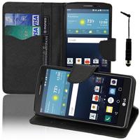 LG G Vista 2: Accessoire Etui portefeuille Livre Housse Coque Pochette support vidéo cuir PU effet tissu + mini Stylet - NOIR