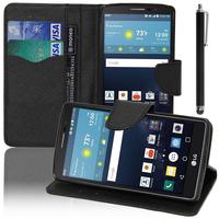 LG G Vista 2: Accessoire Etui portefeuille Livre Housse Coque Pochette support vidéo cuir PU effet tissu + Stylet - NOIR
